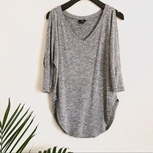 Gray Cold Shoulder Top